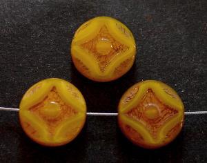 Best.Nr.:67787 Glasperlen / Table Cut Beads gelb Perlettglas, geschliffen mit light bronze finish