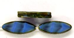 Best.Nr.:67256 Glasperlen / Table Cut Beads geschliffen Perlettglas mittelblau mit picasso finish,  hergestellt in Gablonz / Tschechien