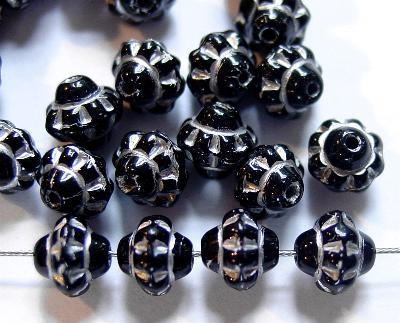 Best.Nr.:53006 Glasperlen Doppelkegel  schwarz mit Silberauflage; hergestellt in Gablonz / Tschechien