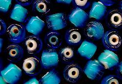 Best.Nr.:64122 handgefertigte Wickelglasperle, blau mit weißen Kern