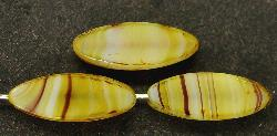 Best.Nr.:67052 Glasperlen / Table Cut Beads geschliffen gelb marmoriert mit picasso finish,  hergestellt in Gablonz / Tschechien