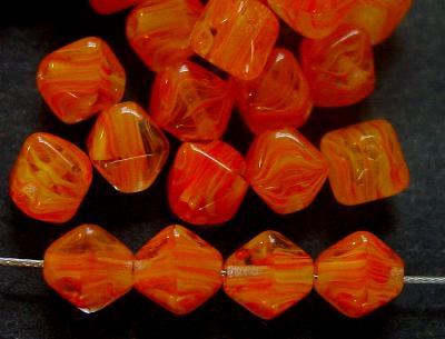 Best.Nr.:54117 Glasperlen Doppelpyramide vierkantig orange meliert