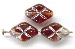 Best.Nr.:57191 Glasperlen braun kristall mit Silberauflage