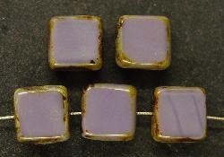 Best.Nr.:67057 Glasperlen / Table Cut Beads geschliffen  violett opak mit picasso finish,  hergestellt in Gablonz / Tschechien