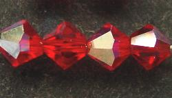 Best.Nr.:31001 mc-Schliff Glasperlen light red mit AB bicon