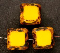 Best.Nr.:67319 Glasperlen / Table Cut Beads geschliffen mit Travertin-Veredelung