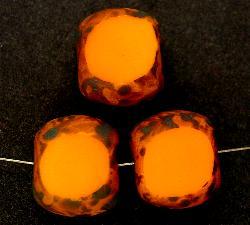 Best.Nr.:67354 Glasperlen / Table Cut Beads geschliffen mit Travertin-Veredelung