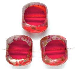 Best.Nr.:67355 Glasperlen / Table Cut Beads geschliffen mit Travertin-Veredelung