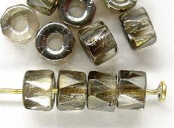 Best.Nr.:28179 Glasperlen facettiert blackdiamond mit Platin Veredelung