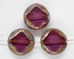 Best.Nr.:67386 Glasperlen / Table Cut Beads geschliffen  geschliffen mit Travertin-Veredelung violett