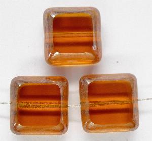 Best.Nr.:67391 Glasperlen / Table Cut Beads geschliffen mit Bronze-Veredelung