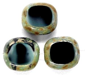 Best.Nr.:67395 Glasperlen / Table Cut Beads Olive geschliffen black smoke mit picasso finish,  hergestellt in Gablonz / Tschechien