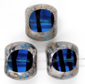 Best.Nr.:67399 Glasperlen / blau mit schwarzen Streifen Table Cut Beads blau schwarz geschliffen mit Travertin-Veredelung