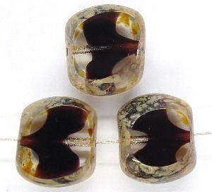 Best.Nr.:67398 Glasperlen / kristall mit violetten Einschluss Table Cut Beads geschliffen mit Travertin-Veredelung