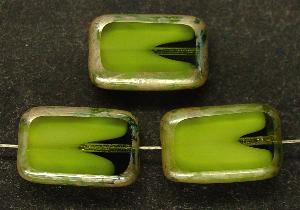 Best.Nr.:67404 Glasperlen / grün mit weißem Einschluss Table Cut Beads Rechtecke geschliffen, mit Travertin-Veredelung