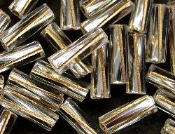 Best.Nr.:21032 Glasstifte von Preciosa Tschechien, kristall mit Silbereinzug getwistet mit Goldauflage