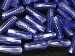 Best.Nr.:21018 Stiftperlen hergestellt von Preciosa Ornella Tschechien,  Glasstifte aqua mit Silbereinzug getwistet und mattiert (frostet)