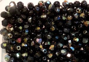 Best.Nr.:41074 facettierte Glasperlen schwarz opak mit metallic Veredelung