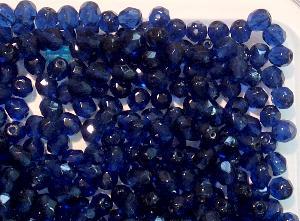 Best.Nr.:41065 facettierte Glasperlen dunkelblau transparent