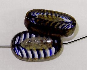Best.Nr.:67400 Glasperlen / Table Cut Beads geschliffen blau kristall mit Travertin-Veredelung