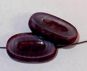 Best.Nr.:67984 Glasperlen / Table Cut Beads geschliffen Perlettglas violett mit Travertin-Veredelung