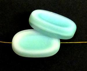 Best.Nr.:67931 Glasperlen / Table Cut Beads geschliffen weiß mint / Rand mattiert