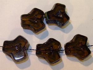Best.Nr.:67102 Glasperlen / Table Cut Beads geschliffen, braun  mit picasso finish, hergestellt in Gablonz Tschechien
