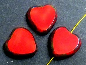 Best.Nr.:671120 Glasperlen / Table Cut Beads Herzen geschliffen rot opak mit picasso finish