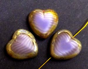 Best.Nr.:671121 Glasperlen / Table Cut Beads Herzen geschliffen violett Perlettglas mit Travertin-Veredelung