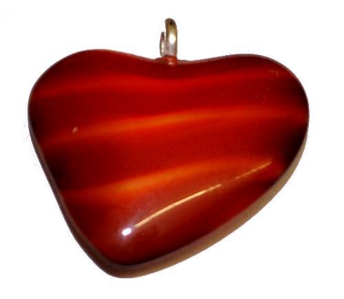 Best.Nr.:34155  Glasanhänger Herz mit Öse,  orangerot,  hergestellt in Gablonz / Tschechien