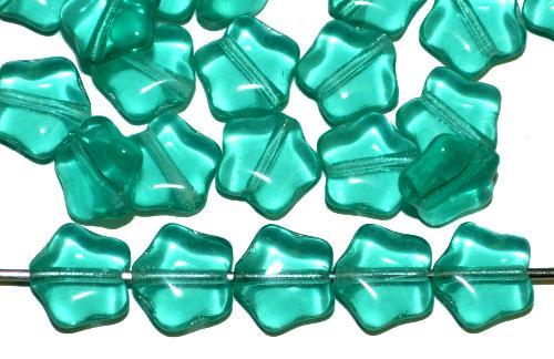 Best.Nr.:56022 Glasperlen Sterne  smaragdgrün hell transp., hergestellt in Gablonz / Tschechien