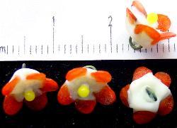 Best.Nr.:33-0456 wunderschöne handgearbeitete Glasblüten um 1920 in Gablonz/Böhmen hergestellt auf der Rückseite mit einer Öse versehen