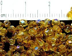Best.Nr.:28129 facettierte Glasperlen  topas hell mit AB, hergestellt in Gablonz / Tschechien