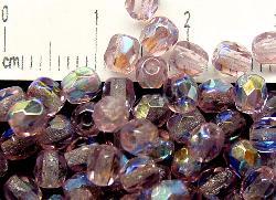 Best.Nr.:28112  facettierte Glasperlen  hellviolett mit AB, hergestellt in Gablonz / Tschechien