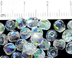 Best.Nr.:28162 facettierte Glasperlen  kristall mit AB, hergestellt in Gablonz / Tschechien