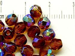 Best.Nr.:28139 facettierte Glasperlen  topas mit AB, hergestellt in Gablonz / Tschechien