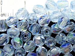 Best.Nr.:28131 facettierte Glasperlen  aqua hell mit AB, hergestellt in Gablonz / Tschechien