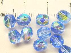Best.Nr.:28152 facettierte Glasperlen, aqua mit AB, hergestellt in Gablonz / Böhmen