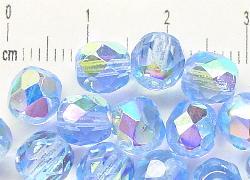 Best.Nr.:28145 facettierte Glasperlen  aqua mit AB