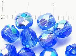 Best.Nr.:28163 facettierte Glasperlen  blau mit AB
