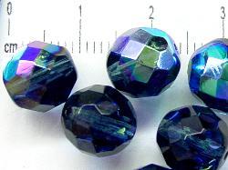Best.Nr.:28160 facettierte Glasperlen,  montanablau mit AB, hergestellt in Gablonz / Böhmen