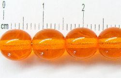 Best.Nr.:22370 Glasperlen rund orange transparent, hergestellt in Gablonz / Tschechien