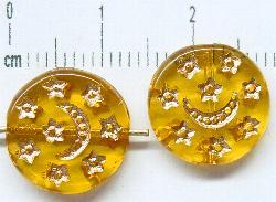 Best.Nr.:47089 Glasperlen Scheibe honiggelb mit gold Prägung