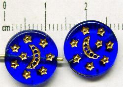 Best.Nr.:47076 Glasperlen Scheibe kobaltblau mit gold Prägung
