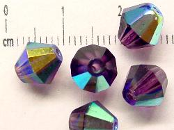 Best.Nr.:28170 facettierte Glasperlen  violett transp. mit AB