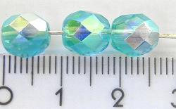 Best.Nr.:28003 facettierte Glasperlen  türkis transp./eine Seite mit AB