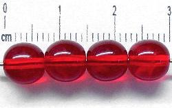 Best.Nr.:22412 Glasperlen rund rot transparent, hergestellt in Gablonz / Tschechien