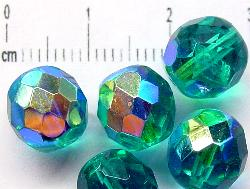 Best.Nr.:28175 facettierte Glasperlen smaragdgrün mit AB