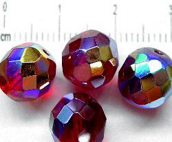 Best.Nr.:28181 facettierte Glasperlen rot transp. mit AB, hergestellt in Gablonz / Tschechien