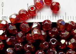 Best.Nr.:23023 facettierte Glasperlen rot mit lüster